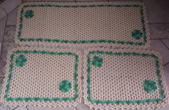Promoção: Kit (passadeira E 2 Tapetes)de Crochê Para Cozinha