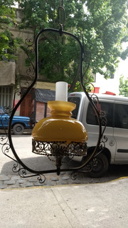 Antigua Lámpara Colgante Quinque De Techo Hierro Forjado