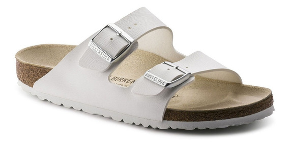 Birkenstock Sandália Arizona Couro Regular Branco + Barato