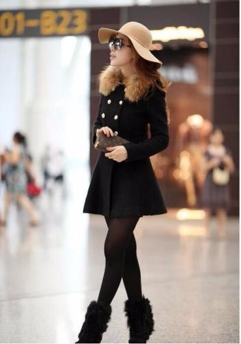 Gaban Negro Fashion Winter Elegante Slim Coat Jacket Parka