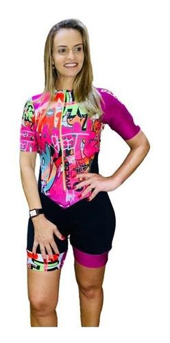 Imagem 1 de 6 de Macaquinho Ciclismo Feminino Grafite Rosa Mc