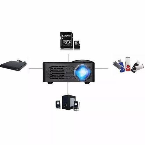 Projetor Led Hd Portatil Home Cinema Com Controle Usb Sd Av