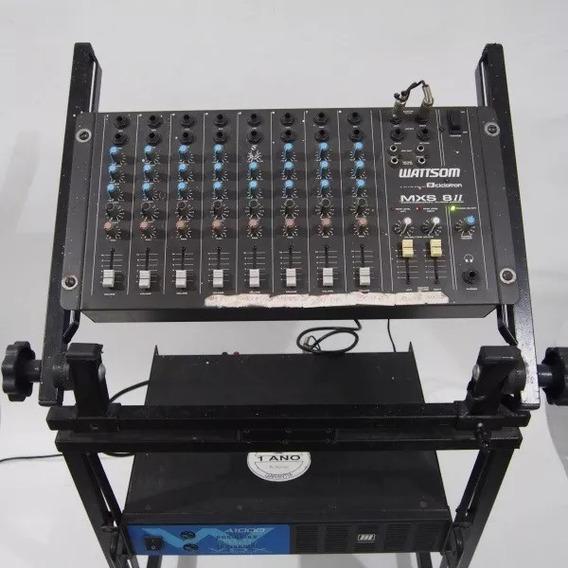Mesa De Som Wattson + Rack + Amplificador Potência Machine
