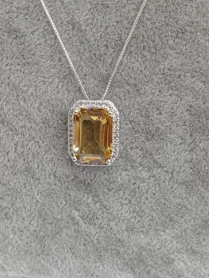 Colar Quadrado Com Pedra Central Cristal Semi Jóias