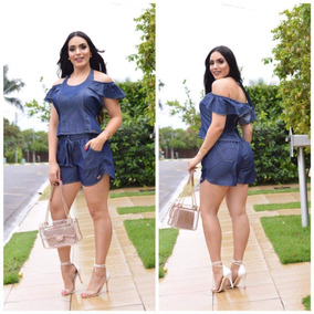 Conjuntos Jeans Feminino, Short Jeans,blusa Jeans , Bermuda