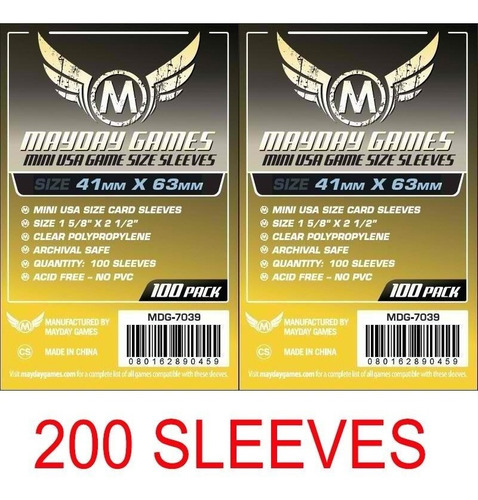 Imagem 1 de 3 de 2 Pacotes Mayday Mini Usa 100 Card Sleeves - 41mmx63mm