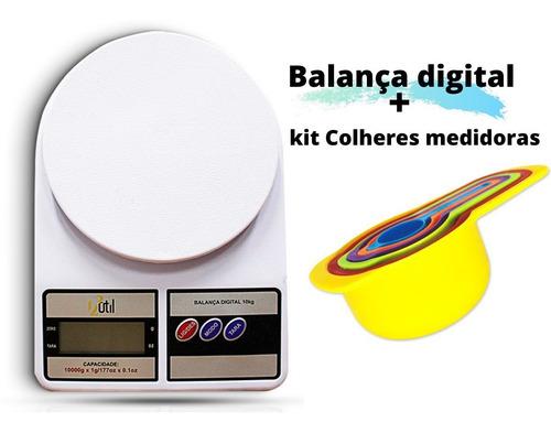 Kit Balanca Digital Alta Precisão 10 Kg Colher Medidor Bolos