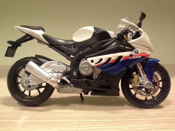 Miniatura Moto Bmw S1000rr Branca E Azul Maisto Escala 1:12