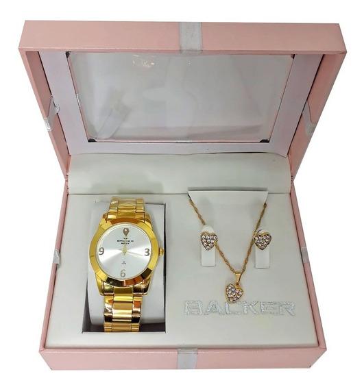 Kit Relógio Backer Feminino + Semi Joia Dourado Ba39920095f