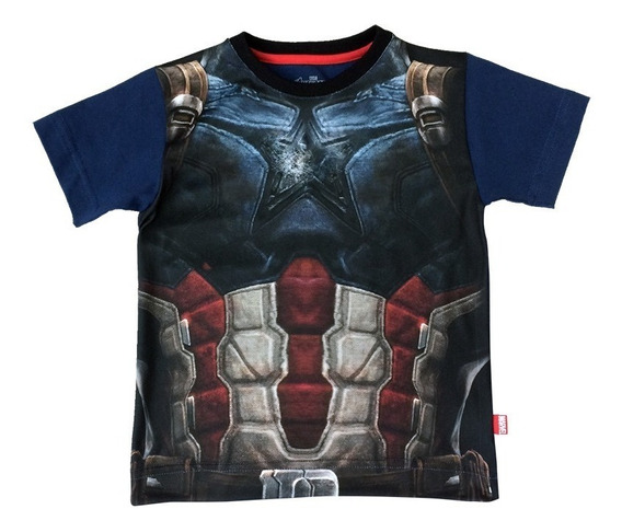 Playera De Armadura Capitan America Marvel Official