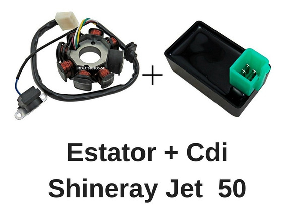 Estator 8 Bobinas Shineray Jet 50cc + Cdi Mod Original 17686