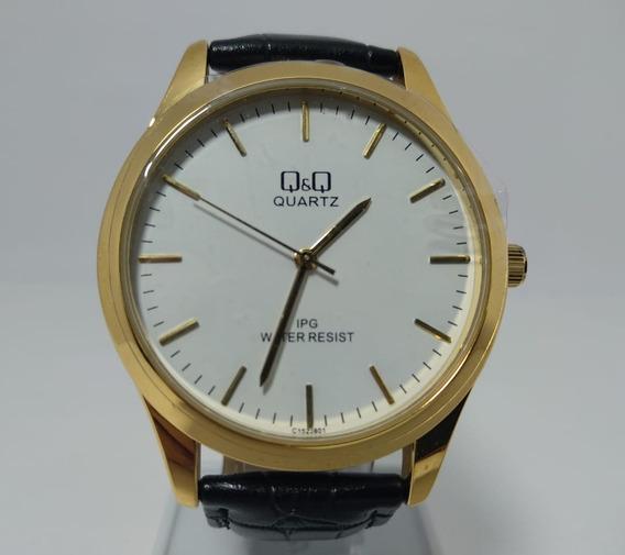 Relógio Q&q Dourado Fundo Branco Pulseira Couro - C152j801y