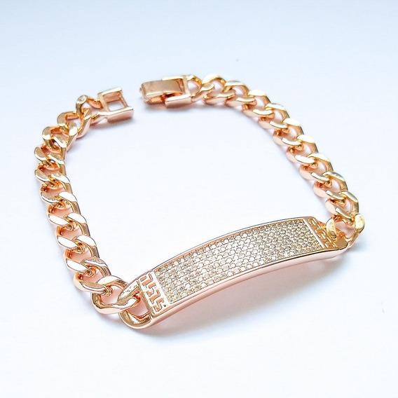 Pulseira Luxo Elo Placa Cravejada Zircônia Banho Ouro 18k