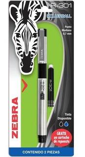 Zebra R-301 Pluma Rollerball Con Cartucho