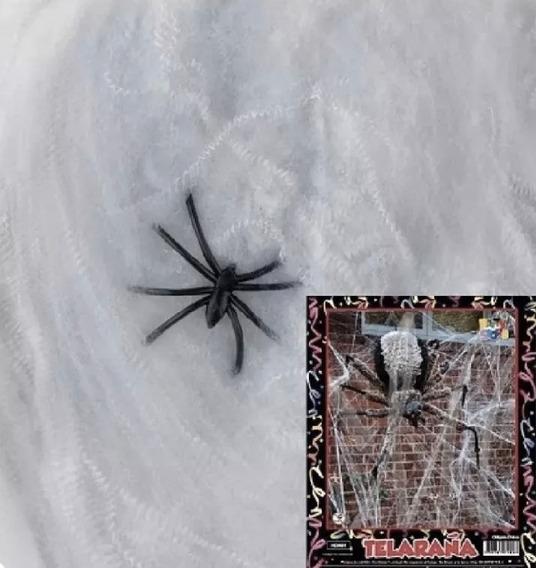 Telaraña Blanca Con Arañas Negras Halloween