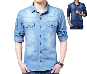 Kit 2 Camisas Masculina Jeans Slim Importada C/ Frete Gratis