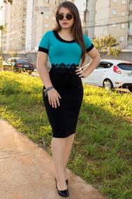 Vestido Tubinho Em Jacard Bicolor Moda Evangélica Reyna