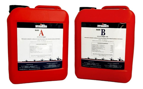 Nutrientes Fertilizantes Orgánico Mineral A+b 5 Litros Mills