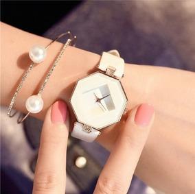 Relógio Feminino Branco Pulseira Em Couro Legítimo