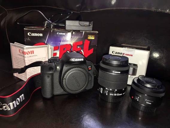 Canon T5i + Lente 50mm E 18-55mm + Cartão De Memória 64gb