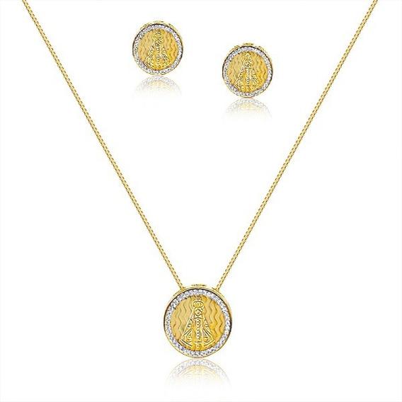 Conjunto N Senhora Aparecida Zirconias Banhado Ouro Amarelo