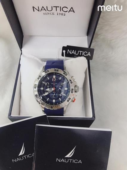 Relógio Real Nautica Azul Pulseira Borracha Promocional