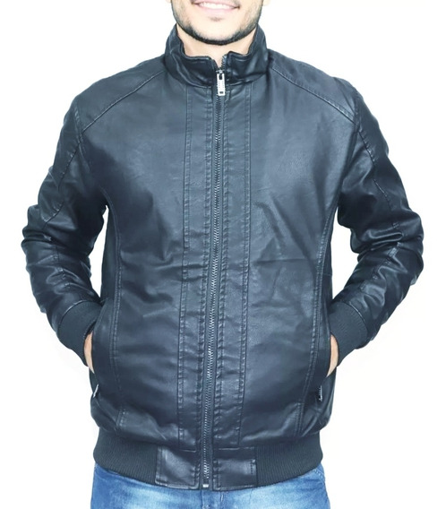 Jaqueta Couro Masculino Blusa Com Ribana De Frio Plus Size