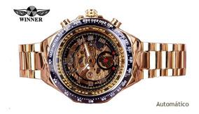 Relógio Esqueleto Winner Mecanico Automático Luxo