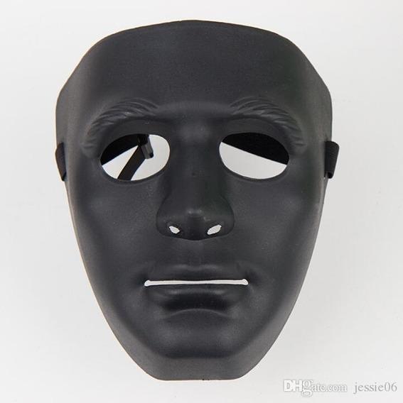 Máscara Rígida Pvc Halloween Carnaval Jabbawoockeez Negra