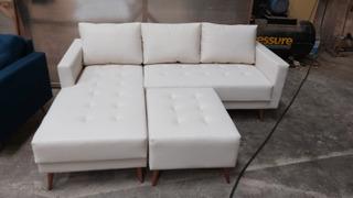 Sofa Resty 2,0m Pe Palito Retro Chaise + Puff Pronta Entrega