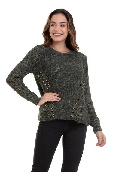 Suéter Kinara Tricot Lurex Ilhós Verde