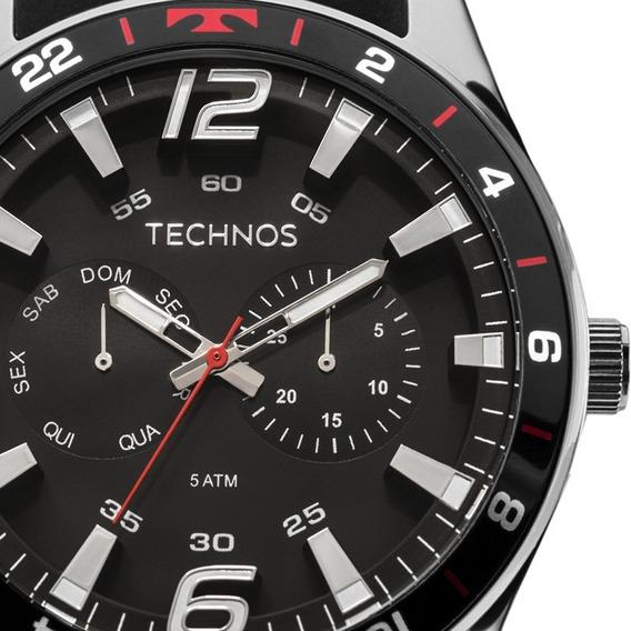 Relógio Technos Masculino Prata Vermelho Pulseira Silicone