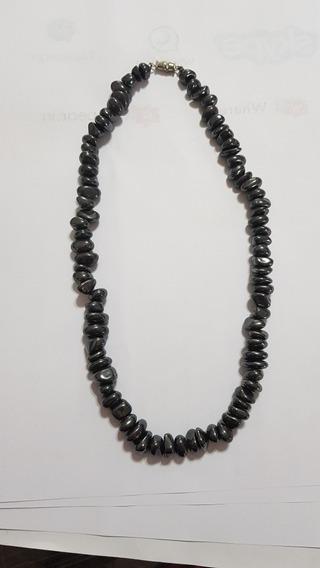 Colar Gargantilha Pedra Negra Preta Hermatita Grandes