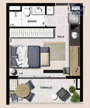 Studio Com 1 Dormitório À Venda, 30 M² Por R$ 398.112,00 - Campo Belo - São Paulo/sp - St0144
