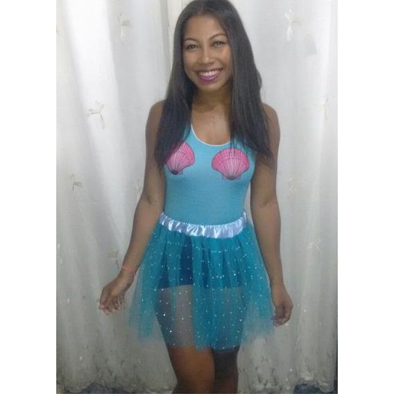 Saia Carnaval De Tule Azul Com Strass - Tamanho Único