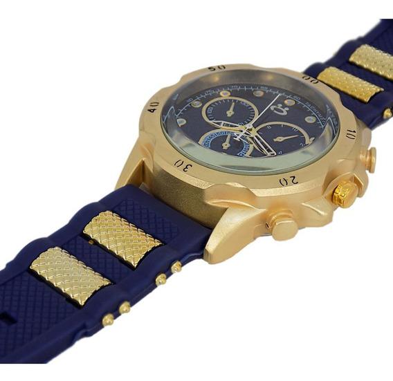 Relógio Masc Dourado C/ Azul Puls Borracha - Presente Papai