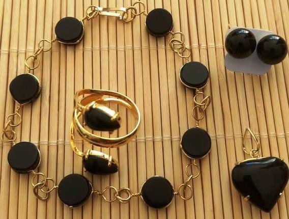 Pulseira,brinco,colar+anel De Ônix Com Acabamento Em Folhead