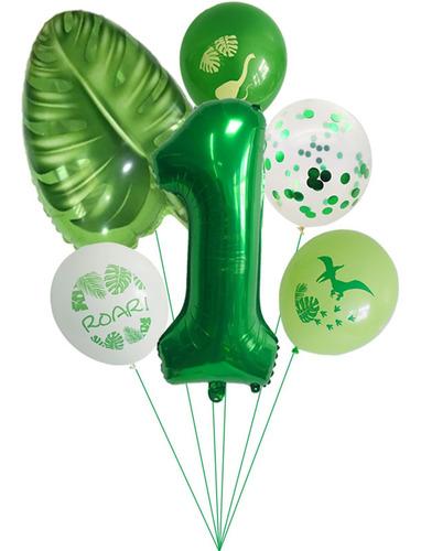 Imagen 1 de 4 de Decoraciones De Cumpleaños Decoración Infantil Dino Verde 2