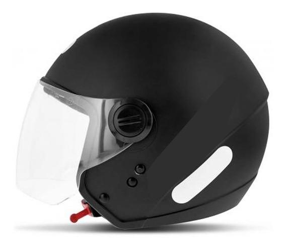 Capacete Moto Aberto Ebf City Com Viseira 56 58 60 Preto Fos