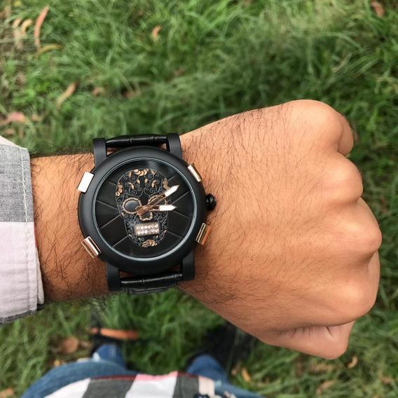 Reloj Negro De Calavera Rosa - Acero Inoxidable