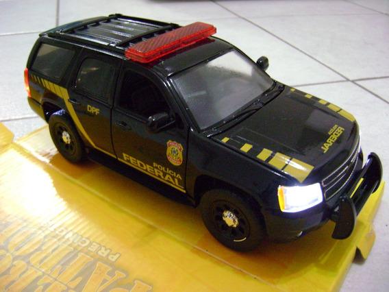 Chevy Tahoe 1/24 Viatura Polícia Federal Luzes E Sirene