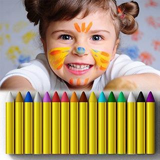 Lápices De Colores Pintura De La Cara Palos De