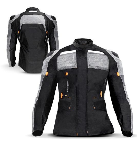 Jaqueta Moto Feminina Parka Texx Armor Protetor Laranja