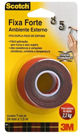 Fita Adesiva 24 X 1,5m Dupla Face Ambiente Externo C/nf