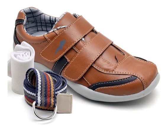 Sapatenis Infantil Kit Meia E Cinto Tenis Barato Sapato
