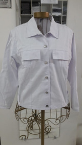 Jaqueta Em Brim Profissional Leve Branca
