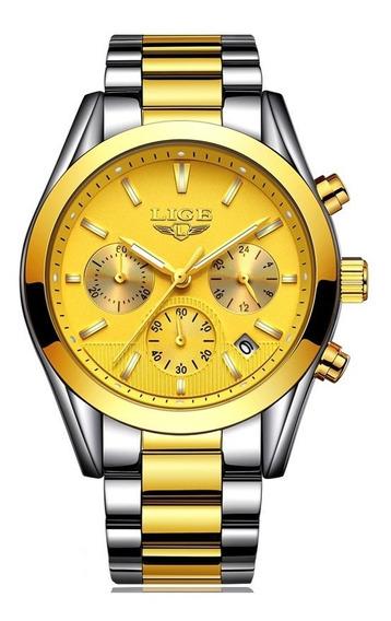 Relógio Lige Masculino Original Lg9872 Dourado