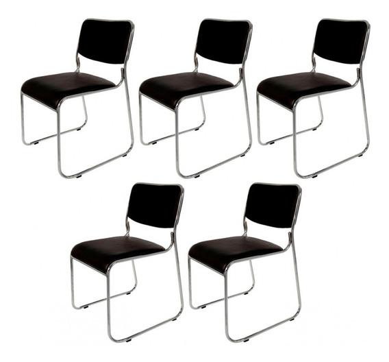 Kit C/ 5 Cadeiras Interlocutor Empilhável Pelegrin Pel-1114
