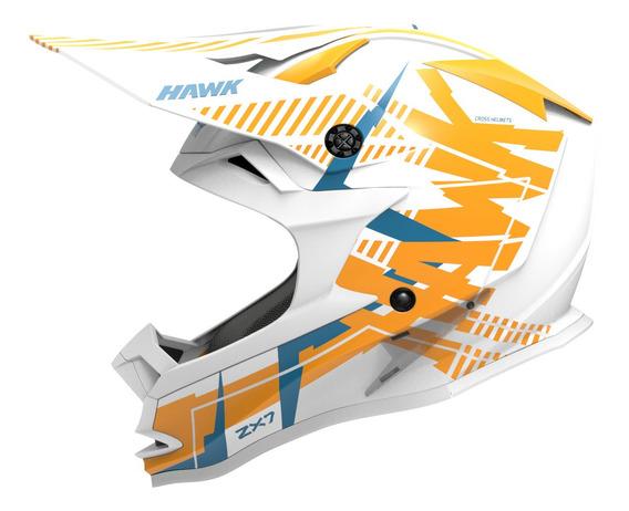 Casco Moto Hawk Zx7 Mx Cross Enduro Blanco Tienda Oficial