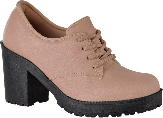 Oxford Feminino Nude Fosco Tratorado Cr Shoes 1710